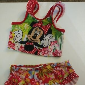 Disney Minnie Mouse 4T girls swimsuit 2 piece red